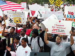 Thousands rally against Rhee in DC.