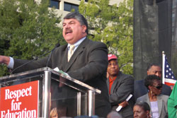 New AFL-CIO prez Trumka at Rhee protest.