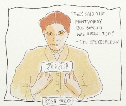 Rosa Parks on Chicago Teacher Strike, art from Fred Klonsky