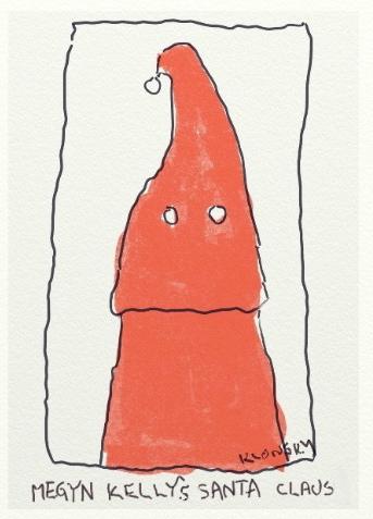 Ten minute drawing. Megyn Kelly's Santa Claus. Drawing by Fred Klonsky