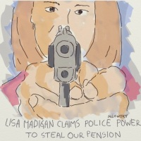 A.G. Madigan claims police powers over pensions before the state Supreme Court.