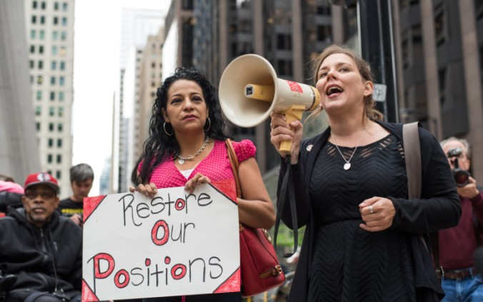 Kristine Maylee from CTU speaks out against special ed cuts at a rally held across from the CPS loop office on August 26, 2015. (Photo by Max Herman)