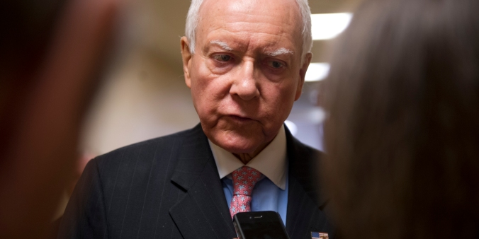 UNITED STATES - May 14: Sen. Orrin Hatch, R-UT., talks to reporters about the Justice Department secretly seizing AP reporters? phone records outside of the weekly Senate luncheon's on May 14, 2013. (Photo By Douglas Graham/CQ Roll Call)