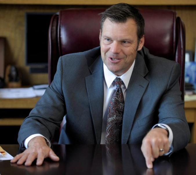 Kansas Secretary of State Kobach talks about the Kansas voter ID law in his Topeka, Kansas office