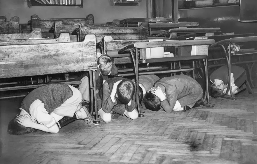 20 July 1940 London duck and cover London Board of Education drill for air raids